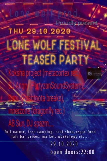 Party Flyer Lone Wolf prod. Imc teaser party 29 Oct '20, 22:00