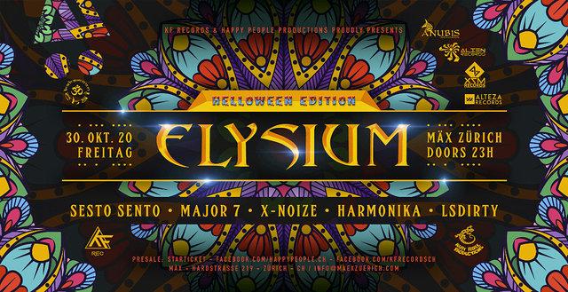 Party Flyer ☆ELYSIUM☆ Helloween Ed / Sesto Sento / Harmonika / Major7 / X-Noise / LSDirty 30 Oct '20, 23:00