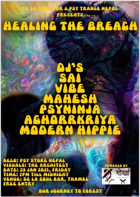 Party Flyer Healing the breach by psy trance Nepal 29 Jan '21, 18:30