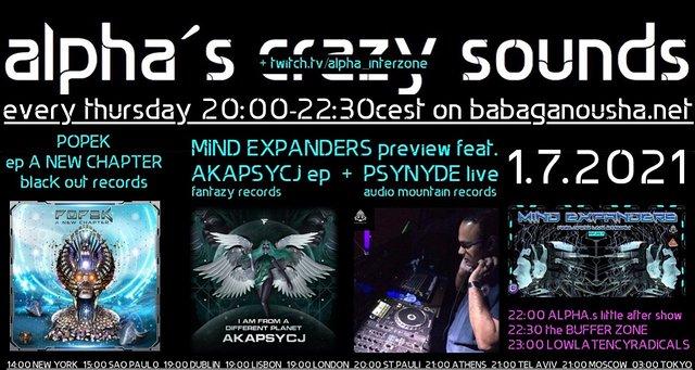 Party Flyer alpha.s crazy sounds - POPEK ep, AKAPSYCJ ep, PSYNYDE live 1 Jul '21, 20:00