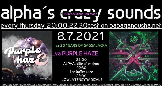Party Flyer alpha.s crazy sounds: va PURPLE HAZE mix by merry + va 20 YEARS OF GAGGALACKA 8 Jul '21, 20:00