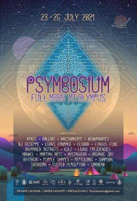 Party Flyer Psymbosium Full Moon mt.Olympus 23 Jul '21, 18:00