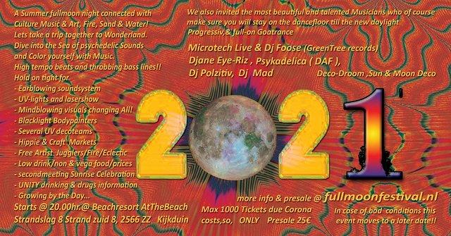 The Fullmoon Beach Festival 2021 by Shut Up & Dance 21 Aug '21, 20:00