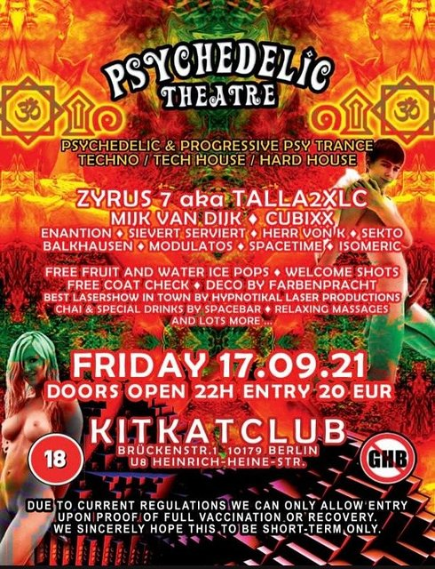 Party Flyer Psychedelic Theatre back at KitKat 17 Sep '21, 22:00
