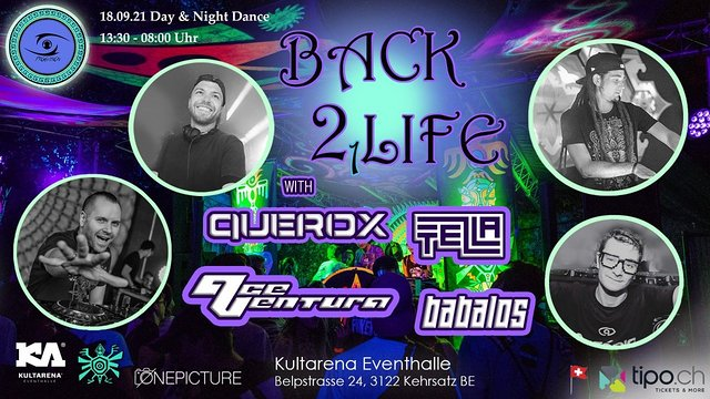 Party Flyer ProgVisions Back 2 Life Day & Night Dance w/ Querox, Ace Ventura, Babalos, uvm. 18 Sep '21, 13:30