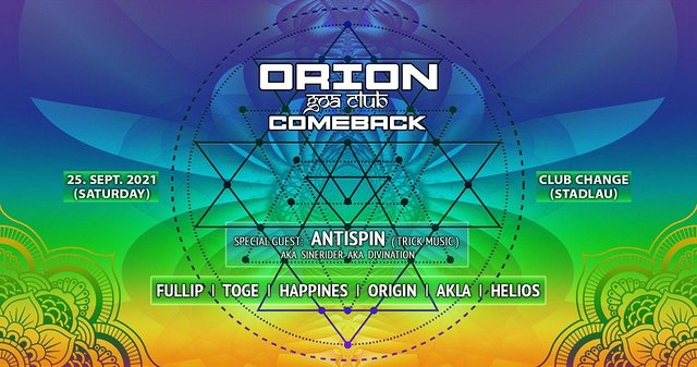 Party Flyer Orion Goa Club - The Comeback 25 Sep '21, 22:00