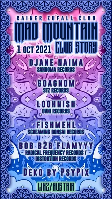 Party Flyer MadMountain ClubStory 01.10 mit Djane Naima and O.V.N.I Records 1 Oct '21, 23:00