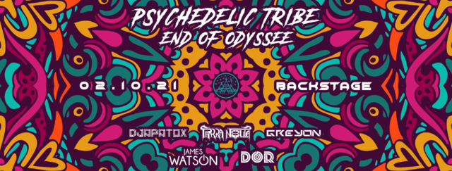 """Party Flyer Psychedelic Tribe """"End of Odyssee"""" 2 Oct '21, 22:00"""