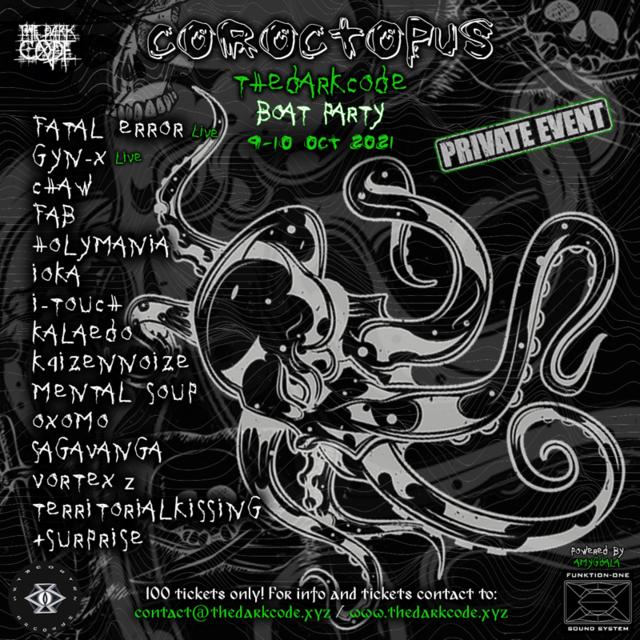 TheDarkCode Coroctopus Boat Party 9 Oct '21, 12:00