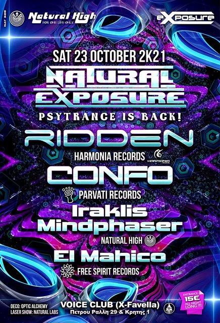 Natural Exposure presents Ridden / Confo / Mindphaser & El Mahico in Athens 23 Oct '21, 23:30