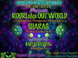 Party Flyer ALIEN FRIDAYS - feat - RODRI aka OUT WORLD & SHARAS 5 Jun '15, 21:00