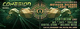 Party Flyer Cohesion presents: Mutagen Records Label Party 5 Sep '15, 23:00