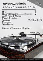 Party Flyer Extrawirsch / Arschwackeln / Oliver Bondzio (Hardfloor / Cocoon Records) 12 Feb '16, 23:00