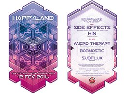 Party Flyer HappyLand W/ SIDE EFFECTS, KIN AND MORE 12 Feb '16, 23:30