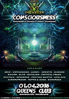 Party Flyer PSYBOX - *** CONSCIOUSNESS *** 10 + intern. Liveacts 1 Apr '16, 22:00