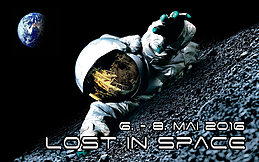 Party Flyer LOST IN SPACE 10 years Crazy Beams Hessen 6 May '16, 22:00