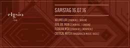 Party Flyer Krumelur, Florian MSK, Evil Oil Man und Critical Mitch 16 Jul '16, 23:00