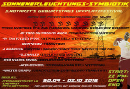 Party Flyer Sonnenerleuchtungs-Symbiotik 30 Sep '16, 22:00