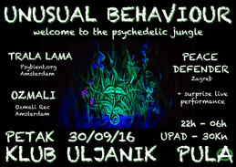 Party Flyer Unusual Behaviour - Welcome to the Psychedelic Jungle 30 Sep '16, 22:00