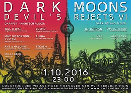 Party Flyer DARK MOONS - DEVIL´S REJECTS VI 1 Oct '16, 23:00