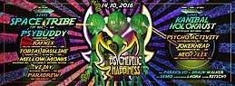 Party Flyer Psychedelic Happiness /w SPACE TRIBE Live! / KANIBAL HOLOKAUST Live! / UVM. 14 Oct '16, 23:00