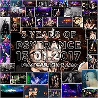 Party Flyer Three Years of Psytrance @ Postgarage 13 Jan '17, 23:00