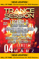 Party Flyer Trance Session // w. Legend B - Hennes & Cold aka Derb in Wetzikon ZH 4 Mar '17, 22:00
