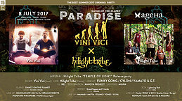 "Party Flyer DANCE on the Planet ""PARADISE"" - Vini Vici X Hilight Tribe 8 Jul '17, 23:00"