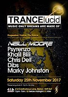 Party Flyer TRANCElucid - November: Neill Moore + many more 25 Nov '17, 23:00