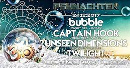 Party Flyer Psynachten - Bubble, Captain Hook, Unseen Dimensions, Twilight 24 Dec '17, 23:30
