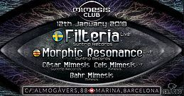 Party Flyer Mimesis CLUB - January w/ FILTERIA & Morphic Resonance 12 Jan '18, 23:30