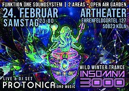 Party Flyer Insomnia 3000 / Wild Winter Dance-Protonica Live / Funktion One 24 Feb '18, 23:00