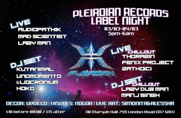 Party Flyer Welcome to the future pleiadian rec night presented by future acoustics 3 Mar '18, 20:00