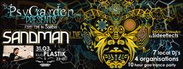 Party Flyer Sandman Live! - PsyGarden - 10 hour Goa Trance Party! 31 Mar '18, 23:00