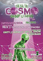 Party Flyer ѪCosmo ConfusionѪ Psytrance &' Techno Vol.2 28 Apr '18, 23:00