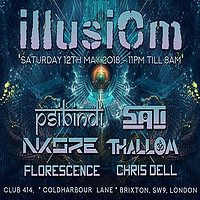 Party Flyer IllusiOm with > Psibindi > Sati & Many More!! 12 May '18, 23:00