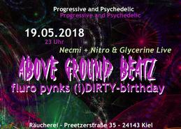 "Party Flyer AboveGroundBeatz ""Fluro Pynks (i)DIRTY-birthday"" Live: Necmi 19 May '18, 23:00"