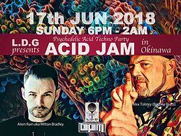 "Party Flyer Liquid Drop Groove presents ""ACID JAM"" in b.p.m. --Psychedelic Acid Techno Party 17 Jun '18, 18:00"