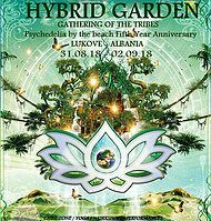 Party Flyer HYBRID GARDEN ** GATHERING OF THE TRIBES ** 5TH ANNIVERSARY ** 31 Aug '18, 18:00