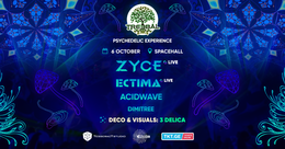 Party Flyer TREEBAL: ZYCE • ECTIMA • ACIDWAVE • DIMITREE at SPACEHALL 6 Oct '18, 23:00