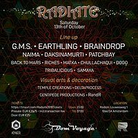 Party Flyer Radiate by Bom Voyage & Voyager 13 Oct '18, 23:00