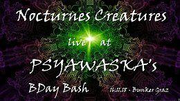 Party Flyer Nocturnes Creatures Live at Psyawaska´s BDay Bash 16 Nov '18, 22:00