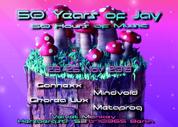 Party Flyer 50 Years of Jay - 50 Hours of Music 23 Nov '18, 20:00