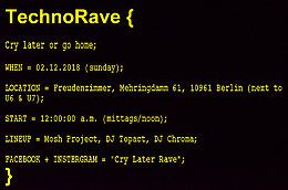 Party Flyer TechnoRave { Cry later or go home; } 2 Dec '18, 12:00