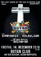Party Flyer Sound of the Sun / The End / last one at Butan / RIP / 14 Dec '18, 22:00