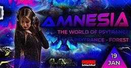 Party Flyer Amnesia The World of Psytrance 19 Jan '19, 22:00
