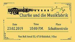 Party Flyer Charlie und die Musikfabrik 23 Feb '19, 22:00