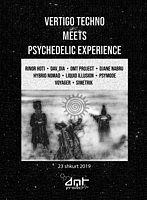 Party Flyer Vertigo Techno Meets Psychedelic Experience Vol 2 by DMT Project 23 Feb '19, 19:00