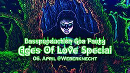Party Flyer Bassproduction Goa Party - Ages Of Love Special 6 Apr '19, 22:00