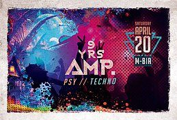 Party Flyer 9 Jahre AMP. Psy/Techno Closing /w.Hippie Mafia 20 Apr '19, 23:00